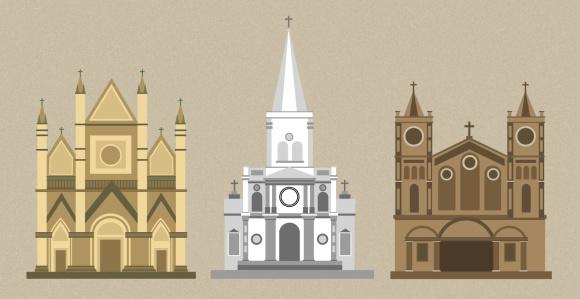 Cathedrals-flat-vector
